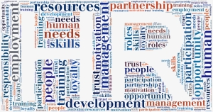 Tag or word cloud human resources related in shape of HR